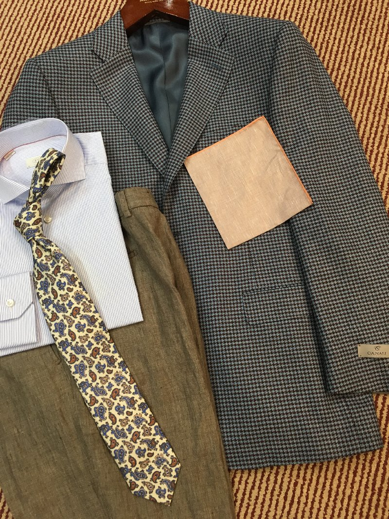 Canali blue brown hounds outfit
