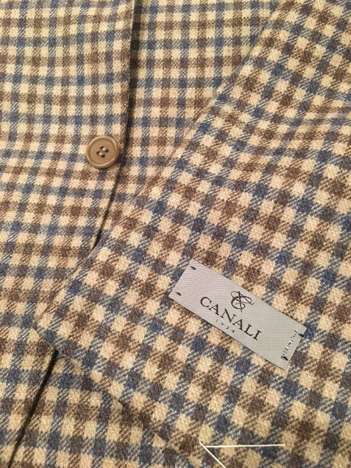 Canali brown blue check