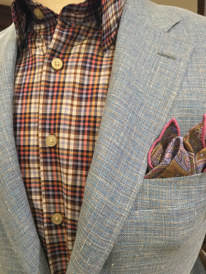 Canali light blue jacket outfit