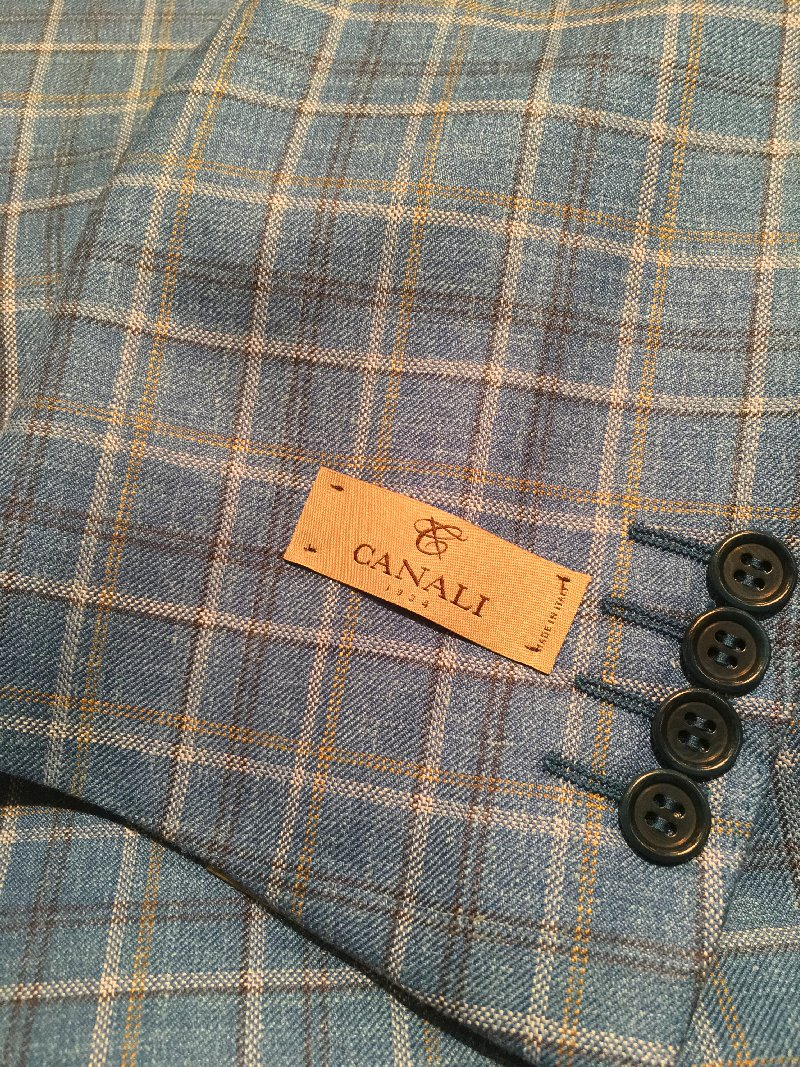 Canali teal with tan-white plaid