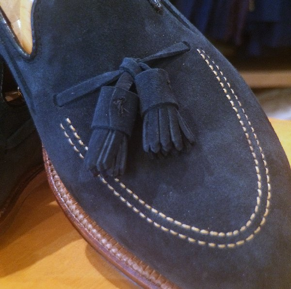 Navy Suede close up
