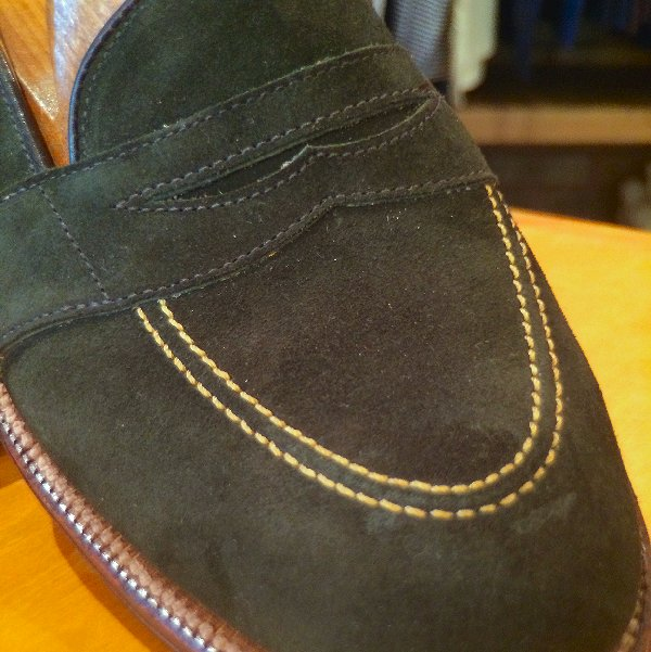 hunter Green suede close up